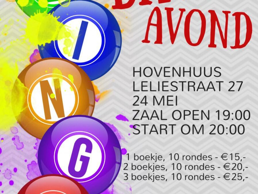 Bingo avond 24 mei